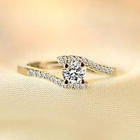 Nhẫn cầu hôn lãng mạn mạ vàng 18K đơn giản QYP30064