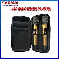 Hộp túi đựng 2 micro không dây, micro đa năng cho loa kéo, micro karaoke gia đình