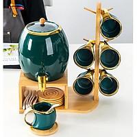 Bộ ấm trà, bộ chum sứ xanh cổ vịt viền vàng 3l kèm 6 cốc sứ và khay gỗ treo phong cách Bắc Âu