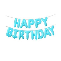 Bong bóng chữ Happy Birthday màu xanh pastel