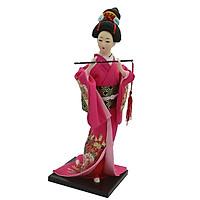 12inch Japanese Geisha Lady Doll w/ Rose Red Kimono Ornament Home Decoration