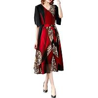Đầm Liền Dài Qua Gối In Da Báo Thời Trang Cho Nữ - Đỏ
