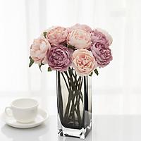 Hoa giả - Hoa hồng pháp lụa cao cấp Camelia, Bình + 10 Cành 28cm, Trang trí Decor cực đẹp, Hoa trang trí