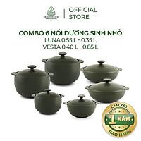 Bộ 6 Nồi Sứ Dưỡng Sinh Minh Long (0.35L/0.55L - 0.4L/0.85L) - Hàng Chính Hãng