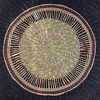 Rế, đế lót nồi/ Tấm lót bàn ăn/ Đĩa treo tường trang trí bằng cói đan thủ công họa tiết - Đường kính 25cm