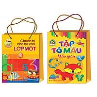 Combo 2 túi : Chuẩn bị cho bé vào lớp 1 (túi 10 cuốn ) + Tập tô màu Mẫu Giáo ( túi 8 cuốn )
