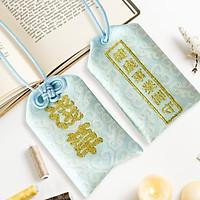 Túi gấm Omamori sức khỏe sự nghiệp xanh nhạt có kèm túi chống nước Túi Phước May Mắn dây treo trang trí