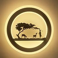 Đèn gắn tường tròn phong cảnh hươu nai ( 3 chế độ sáng)