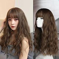 [ KÈM LƯỚI VÀ LƯỢC, P84 ] Tóc giả nguyên đầu có rãnh da đầu, tóc giả nữ nguyên đầu, tóc giả nữ - Tóc giả bộ xoăn sóng, tóc giả dài, tóc giả xoăn, tóc giả xù mì, tóc giả cho người trung niên