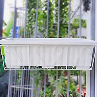 Combo 5 bộ khung sắt - chậu chữ nhật 65*25*20cm trồng hoa, rau treo lan can tiết kiệm không gian