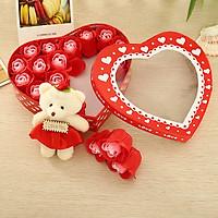 Hộp quà trái tim gấu và hoa hồng - Màu Đỏ