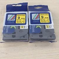 [ Sét 2 cuộn] Nhãn TZ2-FX631 siêu dẻo - Chữ đen trên nền vàng 9mm - Hàng nhập khẩu