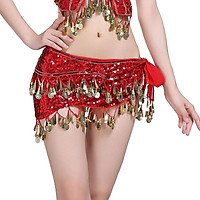 Hip Scarf for Belly Dance, Women Belly Dancing Hip Scarf with Gold Coins Skirts for Bellydance,  or Yoga Class