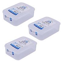 Bộ 3 hộp đựng thực phẩm bằng nhựa PP cao cấp loại 1.3L - Hàng nội địa Nhật