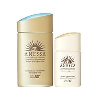 Bộ đôi Kem chống nắng dưỡng da dạng sữa bảo vệ hoàn hảo Anessa Perfect UV Sunscreen Skincare Milk SPF 50+ PA++++ 60ml + Kem nền trang điểm BB chống nắng dưỡng da Anessa SPF 50+ PA++++ 25ml