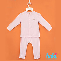 Bộ quần áo sơ sinh cho bé vải sợi tre - bamboo siêu mềm mịn cao cấp - đồ sơ sinh cho bé (2,5kg - 15kg) - bộ dài tay cho bé Haki BB003