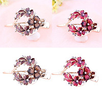2x Strong Floral Hair Clip Single Prong Zircon Thick Hairpin Clamp Barrette