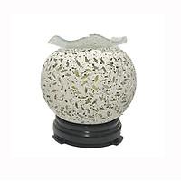Đèn xông tinh dầu gốm trắng bông trắng lớn