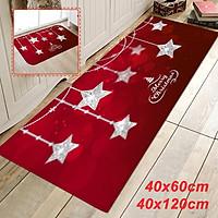 40×60cm / 40×120cm Water Absorption Non-slip Christmas Flannel Floor Mat Carpet