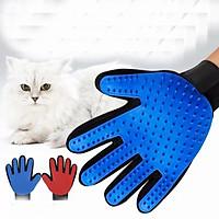Găng Tay Cao Su Massage, Lấy Lông Rụng cho Mèo Hili HL600005- Tay Trái Màu Xanh