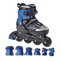 Combo Giày trượt patin K400 Xanh+ bộ bảo hộ tay chân