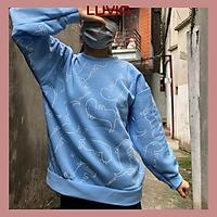Áo Sweater form rộng hoạ tiết khủng long vải nỉ bông Hàn Quốc hot trend thu đông cho nam nữ