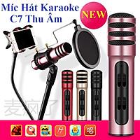 Mic karaoke, thu âm trên điện thoại,  livestream cho điện thoại C7 thu âm 3 IN 1, với âm thanh tự nhiên và tinh khiết.