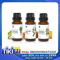 Combo Tinh dầu sả chanh Kepha (10ml) + Tinh dầu Quế Kepha (10ml) + Tinh dầu cam ngọt Kepha (10ml). Nguyên chất 100% khử mùi, khử mùi, kháng khuẩn, đuổi muỗi, giải cảm, làm đẹp Khóa  Đ