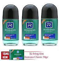 Combo 3 lăn khử mùi Romano Classic 50gr*3 + Tặng kèm xà bông tắm 50gr