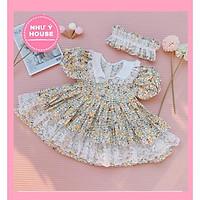 váy bé gái công chúa Lolita   + TẶNG TURBAN NHƯ Ý HOUSE'S - - LOLITA HOA VÀNG