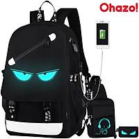 Bộ balo đi học phát sáng Ohazo! hình Mắt + Túi Đeo Chéo Sành Điệu+ Ví bút hình mắt ( Tặng kèm khóa chống trộm + cáp USB)