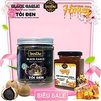 Tỏi đen bestke lên men tự nhiên và Mật ong hoa rừng 100% nguyên chất Combo bán gồm 1 hộp 250g+1 lọ 200ml