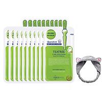 Hộp 10 Mặt nạ dưỡng da giảm mụn chiết xuất tràm trà Mediheal Teatree Solution Essential Mask Ex 25ml x10 + Tặng 1 Băng Đô Tai Mèo Xinh Xắn ( Màu Ngẫu Nhiên)