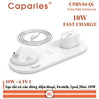 Sạc Nhanh Không Dây 6 in 1 , 10W CAPARIES CPRV04-Qi , Wireless Quick Charge, chuẩn Qi Apple cho Iphone, Samsung, Vivo, Oppo, Xioami, Huawei, Vsmart - Chính Hãng