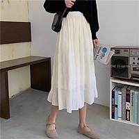 Chân váy xếp ly midi dáng dài voan trắng dập ly siêu hack dáng hot trend