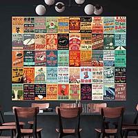 CA DAO TỤC NGỮ VIỆT NAM - Set 50 tấm 22x30cm decal dán tường trang trí decor quán nhà cửa chủ đề PROPAGANDA
