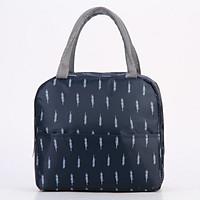 Túi đựng cơm giữ nhiệt cao cấp vải Oxford Floral có khoá kéo + tặng kèm 01 sổ tay