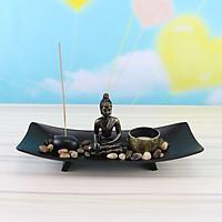 Tượng Phật Thích Ca + đế + nến + cát + sỏi + nhang + đế nhang trang trí để bàn phật thái phong thuỷ siêu đẹp