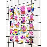 Hình Dán Bé Heo Peppa  sticker Nổi 3D set 2 bảng ( 48 miếng ảnh )