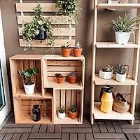 Combo Kệ gỗ ngoài trời để ban công chậu hoa, cây cảnh, Bảng treo cây, Hộp gỗ pallet đa năng