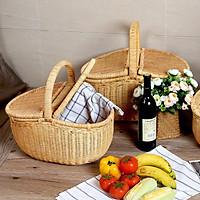 Giỏ mây picnic Oval từ guột & cói đan tay 100%