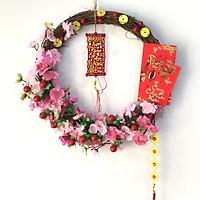 Vòng  hoa đào trang trí tết H05