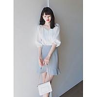 Set áo sơ mi trắng kiểu cổ chữ V và chân váy đuôi cá công sở dự tiệc đi chơi đẹp xinh phong cách Hàn Quốc 2019 DN234