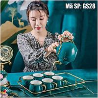 Bộ tách trà sứ cao cấp màu xanh thẫm sang trọng GS28