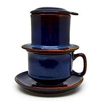 Bộ phin cà phê đủ bộ Đông Gia-màu men hỏa biến  tự nhiên  xanh sóng biển 8094 Coffee filter set