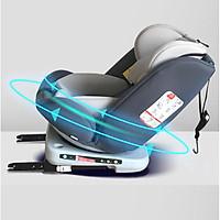 Ghế ô tô 2 chiều CHUẨN ISO 9001, điều chỉnh 4 tư thế từ nằm tới ngồi, xoay 360 độ, ngã 165 độ và có thể điều chỉnh độ cao 7 cấp cho bé từ 0-12 tuổi (xám)