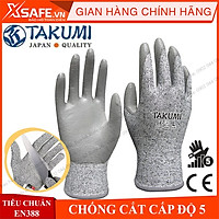 Găng tay chống cắt Takumi P-775 cấp độ 5 độ khéo léo cao - lòng bàn tay phủ PU chống dầu, tăng độ bám Găng tay bảo hộ