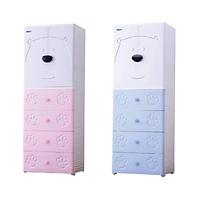 Tủ quần áo trẻ em cửa đôi hình gấu Royalcare 5 tầng màu xanh RC01195T-B