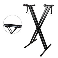 Universal Folding Piano Keyboard Stand Bracket Double X-Style Heavy Duty Metal Material with Anti-Slip Rubber Caps for