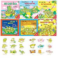 Sách Ehon - Combo 10 chú Ếch phần 1 (6 cuốn) 10 chú ếch , Những người bạn mới, 10 Chú Ếch đi tới núi mõ, Lễ Hội mùa hè, 10 Chú ếch trú đông, Cùng nhau đón Tết, Sticker 10 Chú ếch